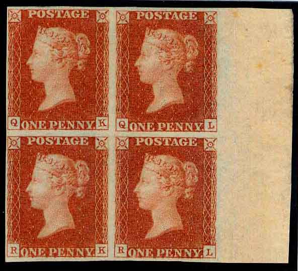 Plate 10 block of four in red with inscription